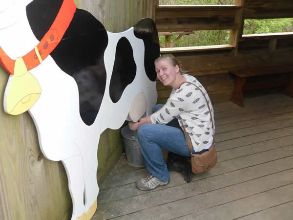 Danni Milking a pretend cow!